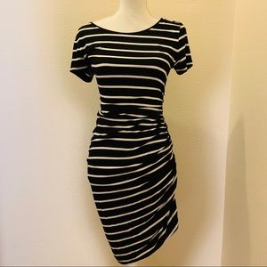 Apt. 9 Black and White Striped Ruched Dress
